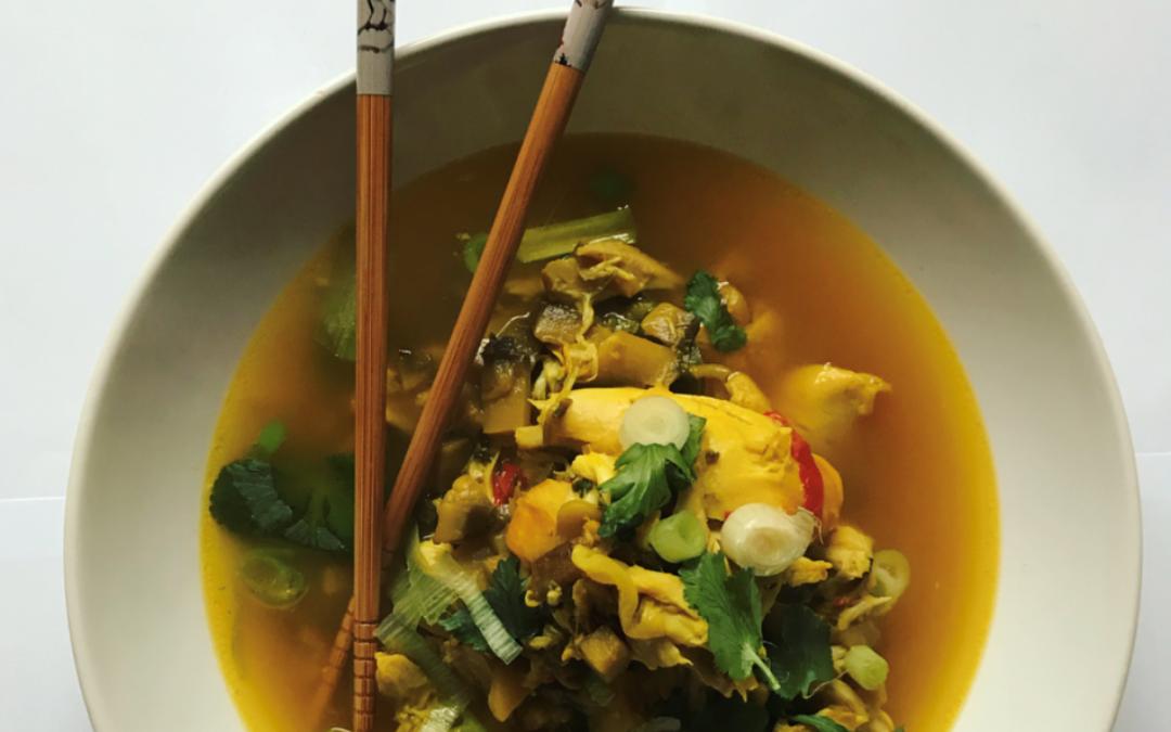Saffron Chicken and Shiitake Soup